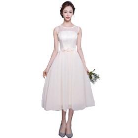 千恵モール ロングドレス ウェディングドレス カラードレス チューブトップ 可愛い ふんわり カラードレス ウェディングドレス 結婚式 二次会 演奏 舞台 ロング (S, ミモレ丈・シャンパン)