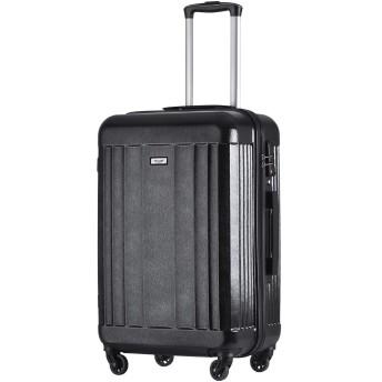 TANOBI スーツケース キャリーバッグ ファスナー式 TSAロック キズ付きにくい おしゃれ 軽量 5色3サイズ(一年安心保証) (ブラック, L)