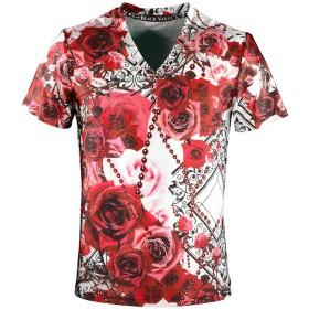 (ブラックバリア) BLACK VARIA Tシャツ 薔薇柄 花柄 バラ チェーン柄 総柄 Vネック 半袖Tシャツ レッド赤 bv09 L