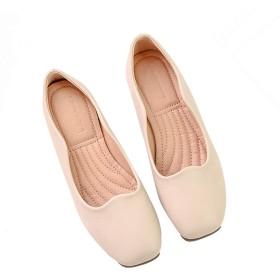 [リンゼ] レディース靴 シンプル ローヒール カーキ 楽ちん フラットシューズ パンプス 痛くない 脱げない 23.0cm 歩きやすい 作業服 コンフォートシューズ 低反発 大きいサイズ 疲れにくい バレエシューズ ポケッタブルシューズ
