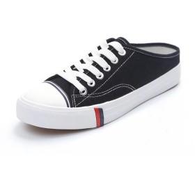 [Wonderlandmaomao] ズックシューズ レディース スニーカー ローカット レディースシューズ 婦人靴 カジュアル かかとなし (23.0cm, ブラック)