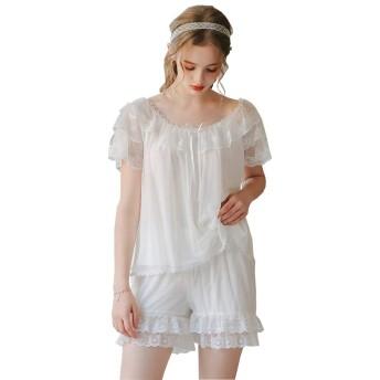 FEVON パジャマ レディース 上下セット 半袖 ショートパンツ 夏 部屋着 チュール レース切り替え 姫系 可愛い ルームウェア ゆったり 柔らかい 快適 ナイトウェア 寝間着 寝巻き おしゃれ