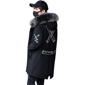 HAPPYJP メンズ モッズコート アウター コート ジャケット 裏ボア ミリタリーコート 中綿コート 長袖 中綿 フード付き フェイクファー ミリタリー ロング (ブラック, 3XL (日本3L相当))
