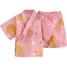 GudeHome 子供甚平 じんべい 女の子 綿 パジャマ 和柄 浴衣 ナイトウェア五分袖 うさぎ柄 90