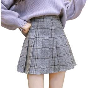 TAOHUA レディース スカート ショート丈 チェック柄 ミニスカート 半身スカート ハイウエスト フリル プリーツスカート (M, グレー)