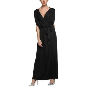 レディース セクシー ホットファッション ストラップレス スイング裾 カジュアル ディープ Vネック プラスサイズ マキシ ロング カクテルEvevingパーティルーズ ロング ドレス,ブラック,XL