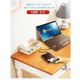 CDドライブ 外付記録型CDドライブ 外付けCDドライブ USB2.0 超薄型 ノートパソコン、ラップトップ PCに適合 Windows 2000/