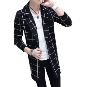 【SEBLES】メンズ アウター コート チェック柄 格子柄 ロング丈 チェスターコート カジュアル ブラック格子 L