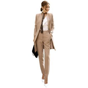 EASONDDD スーツ パンツ 2点セット レディース セットアップ 入学式 スーツ ママ 入園式 母 おしゃれ ジャケット レディース セレモニースーツ カラースーツ 卒業式 結婚式 大きいサイズ (S, カーキ)