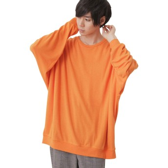 (モノマート) MONO-MART スーパー BIG シルエット プルオーバー ストレッチ カットソー ゆるシルエット スウェット MODE メンズ オレンジ フリーサイズ