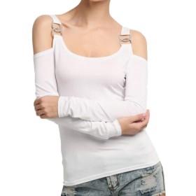 maweisong 女性ブラウスストラップソリッドカラースリムフィットコールドショルダーカジュアルTシャツ White XS