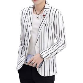 [YUNCLOS]テーラードジャケット メンズ スーツジャケット トップス 黒 カーキ色 白 ストライプ 春 夏 お洒落 サマージャケット