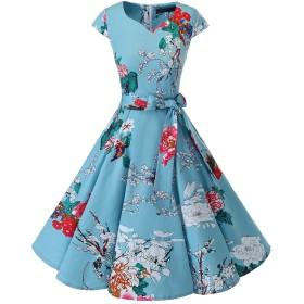 Dresstell(ドレステル) スイングワンピース カップ袖 Vネック 50年代 ウィンテージ お呼ばれ 結婚式 フォーマルドレス レディース フローラル Mサイズ