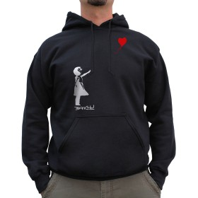 Nutees Unisex Banksy Girl With Heart Shaped Balloon Graffiti Funny Hoodie Black Small