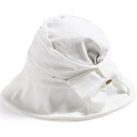 クイーンヘッド UVカット 小顔効果 サイドリボンハット 帽子 レディース ハット 大きいサイズ つば広 UV 紫外線カット (XLサイズ(61cm)-オフホワイト)