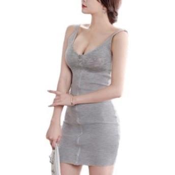 (ジルア)G-RUA ノースリーブ セクシー ミニ ワンピース かわいい フロント ジップ 胸元 前開き 谷間 タイト れでぃーす せくしー みに わんぴーす きゃば どれす すかーと 黒 グレー モテ キャバ ドレス (A03.グレー L)#038