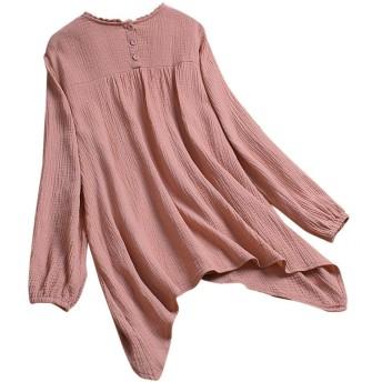 レディース tシャツ 半袖 可愛い 大きいサイズ トップス ブラウス M~L4 日系 綿麻シャツ ポケット付け 無地 夏 半袖シャツ レディース チュニック 旅行