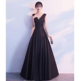 ロングドレス パーティー ロング丈 ノースリーブ 結婚式 二次会 お呼ばれ 演奏会 発表会 大きいサイズ 黒 赤 韓国