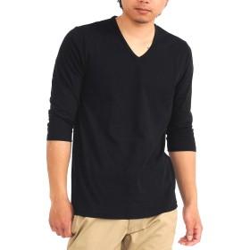 (スペイド) SPADE Tシャツ メンズ 七分袖 Vネック 日本製 無地 きれいめ 【w296】 (L, ブラック)
