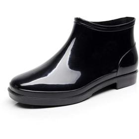 [CAIXINGYI] メンズ レインブーツ 防水 軽量 ショート シューズ カジュアル ビジネス 作業靴 25-28.5cm大きいサイズ メンズガーデンレインブーツ ショート丈 ラバーブーツ ショートレインブーツ 雨靴 梅雨対策 (28cm, 黒)
