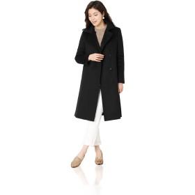 カシミヤ 100% レディース コート ロング丈 テーラード ベルト付き : ブラック 9号