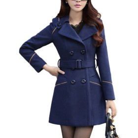 ShangYi レディース Long Woolen Jackets Double Breasted Belt Coats Clothes Navy M