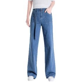 レディース 26 ロング ジーンズ ルーズカウボーイズボン ハイウエスト カジュアルパンツ 薄 デニム ワイド パンツ ボトムス 女性 ブルー ワイドレッグパンツ ゆったり 着やせ 無地 カジュアル パンツ 大きなサイズ