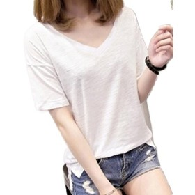 BeiBang(バイバン)レディース Vネック tシャツ 半袖 無地 シンプル ゆったり Tシャツ ゆったり カットソー(16白)