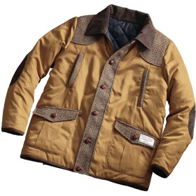 [ヘリンボーンクラブ]HERRINGBONE CLUB ハリスツイードがアクセントの 中綿入り リバーシブル ジャケット メンズ (L, ブラウン)