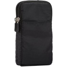 ナイロン スマホ ポーチ ウェストベルトバッグ アームバッグ 肩掛け ショルダー調整でき iPhoneXs Max 8 Plusなどの 7.0インチ以下の機種対応 ブラック