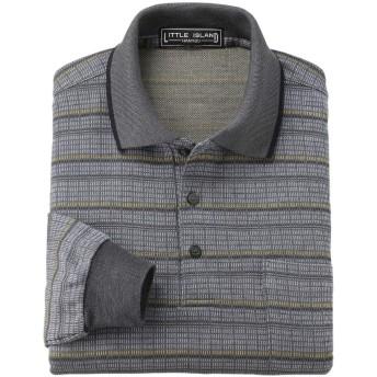リトルアイランド日本製 紳士ジャカードポロシャツ ネイビー LL