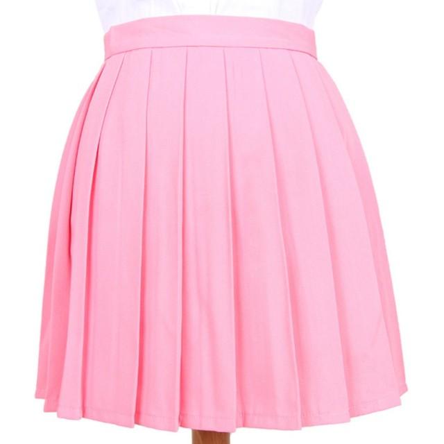 Phoenix's Shop プリーツスカート ミニ 丈40cm レディース 女の子 カワイイ フリフリ 制服スカート ゆらゆら 無地 快適 カジュアル きれい オフィス 学生 ハイウエスト 美脚 (M, ピンク)