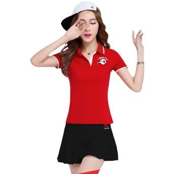 Foncaz レディース ゴルフウェア 上下 セット スポーツウェア ポロシャツ スカート トレーニング フィットネスウェア テニスウェア tシャツ カジュアル 可愛い おしゃれ (レッド2, XL)