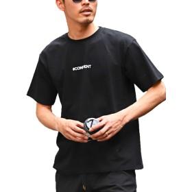 LUX STYLE Tシャツ メンズ プリント レディフォト エンボス 半袖 ビッグシルエット 夏 ブラックL