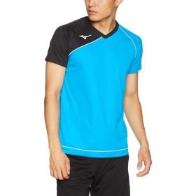 [Mizuno] バレーボールウエア ゲームシャツ(半袖) V2MA8001 ディーバブルーxブラック 日本 XS (日本サイズS相当)