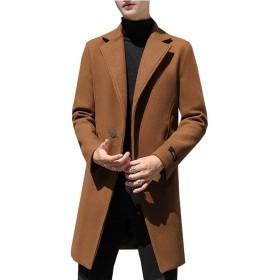 [HSFEO]チェスターコート メンズ 大きいサイズ 秋冬 厚手 暖かい トレンチコート メルトン ロング丈 スリム かっこいい 防寒 防風 ファッション カジュアル ビジネス 通学 通勤 お出かけ 無地 キャメル 5XL