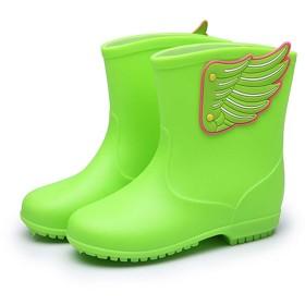 [SUPERMOOM] キッズ 長靴 雨靴 レインブーツ 可愛い キッズ レインシューズ 羽根付き 子供用 女の子 男の子 小学生 幼児 防水 滑り止め 雨 雪遊び (グリーン)