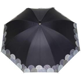 日傘 長傘 レディース 完全遮光 軽量 雨晴兼用 (裾線柄/ネイビー)