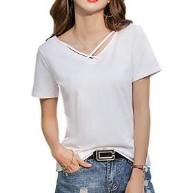 [ブルーディー] 無地 半袖 Vネック Tシャツ ハーフスリーブ カットソー レディース ホワイト M