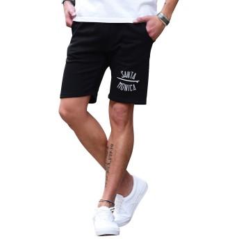 ルービック(RUBIK) ハーフパンツ メンズ 短パン ショートパンツ スウェットパンツ 半パン 星 オルテガ 柄 XL B柄ブラック
