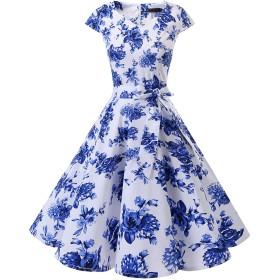 Dresstell(ドレステル) スイングワンピース カップ袖 Vネック 50年代 ウィンテージ お呼ばれ 結婚式 フォーマルドレス レディース ホワイトブルーフラワー XSサイズ