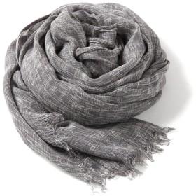 大判ストール シャンブレー 2色使い ビスコース ガーゼ 柔らか ふんわり UV対策 冷房対策 男女兼用 (グレー)