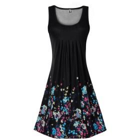 Yidarton ワンピース ルームウェア 部屋着 ドレス レディース スカート チュニック 袖なし 花柄 カジュアル 膝丈 夏 涼しい (L, ブラック)