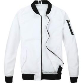 メンズ フライトジャケット ボンバージャケット MA-1 ジップアップ 無地 防寒 カジュアル ライダース コート アウター ブルゾン S ホワイトA