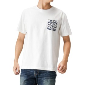 Navy(ネイビー) NAVY JEANS オルテガ柄プリントTシャツ 半袖Tシャツ クルーネック プリントTシャツ 92-7223P-VM メンズ ホワイト:L