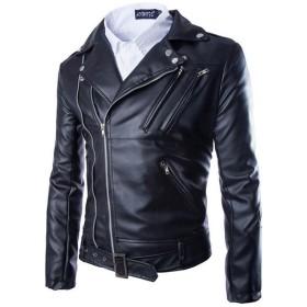 LKOMARKET-メンズ ライダースジャケット ブルゾン バイク革ジャケット フェイクレザー レジャー ショートジャケット シングル PUレザー 防寒 細身 アウター 黒XXL