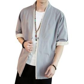 パーカー 五分袖 和式 カーディガン コート夏服 メンズ 無地 和風 羽織 一つボタン シンプル トップス ゆったり カジュアル おしゃれ 大きいサイズ(グレー、2XL)