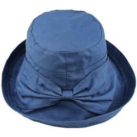 IZUMIYA UVカット 帽子 ハット 小顔 つば広 レディース 紫外線カット 日よけ サイズ調節 オールシーズン リボン付 (ブルー)