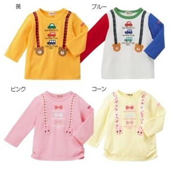 ミキハウス正規販売店/ミキハウス ホットビスケッツ mikihouse サスペンダープリント長袖Tシャツ(80cm・90cm)