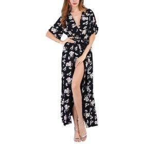 Nicircle スカート レディース Nicircle婦人服夏Vネックビーチドレスセクシーなスプリットドレス女性夏の女性の夏Vネック花柄はビーチドレスセクシーなスプリットドレスを印刷します